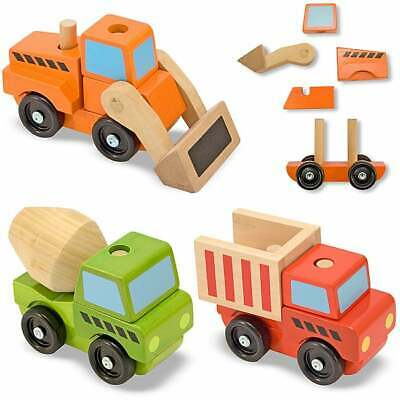 Melissa & Doug Stacking Construction Vehicles Play Set Multi, Orange, Green