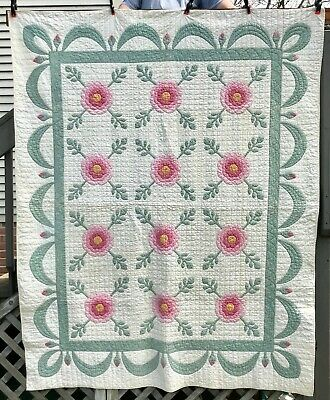 VINTAGE APPLIQUE QUILT PINK ROSE of SHARON with ROSEBUDS & SWAGS HAND STITCHED