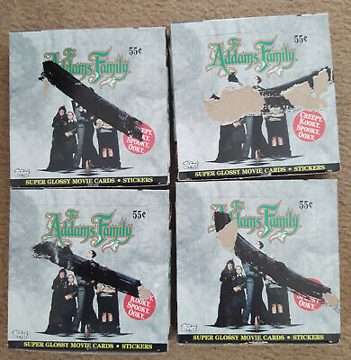 NOS 1991 Topps The Addams Family Movie Trading Cards Stickers Lot of 4