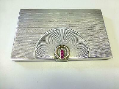 Art Deco Alfred DUNHILL Ruby Gold Sterling Silver CIGARETTE Case Art Moderne