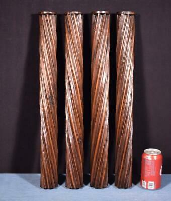 "*22"" Pair of French Antique Solid Walnut Posts/Pillars/Columns/Balusters Salvage"