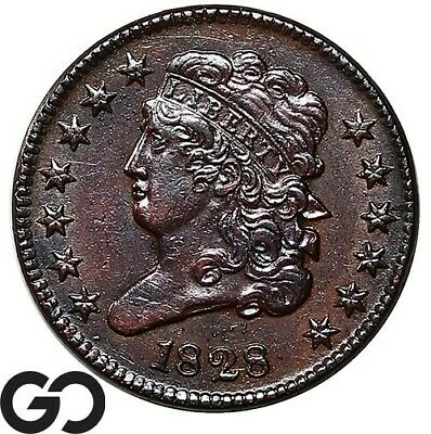 1828 Half Cent, Classic Head, 13 Stars, Nice Choice AU++ Early Collector Copper