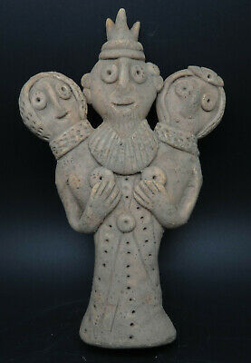 Ancient Syro-Hittite Terracotta Three Headed Fertility Idol Statue