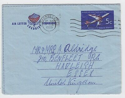 South Africa Formula Air Mail Letter 1969 5c Johannesburg to Essex