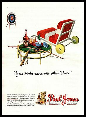 "1947 Paul Jones Whiskey ""Your Drinks Never Miss Either, Dave!"" Archery Print Ad"