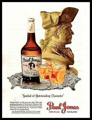 "1947 Paul Jones Blended Whiskey ""Symbol Of Outstanding Character"" Print Ad"