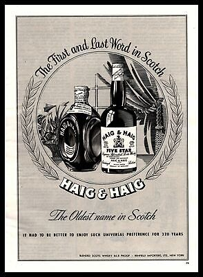 """1947 Haig & Haig Five Star """"The First And Last Word In Scotch"""" Vintage Print Ad"""