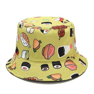 New Sushi Pattern Fisherman Hat Burger Fries Double-sided Hat Summer Outdoor Sun