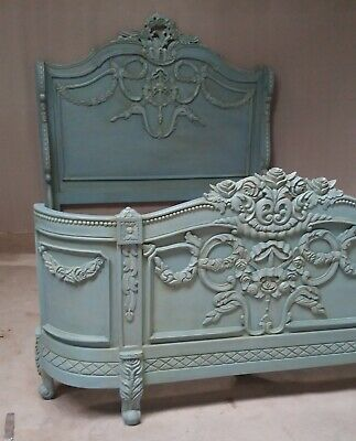 Napoleon 5' King Size French Style Mahogany Bed Antique Blue Rococo Brand New