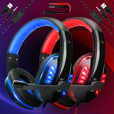 Gaming Headset 3.5mm Mic LED Headphones Stereo Surround For PC PS4 Xbox ONE/iPad