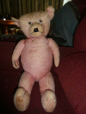 Large Antique Pink Mohair Bear RARE