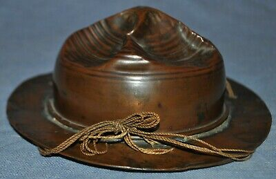 WWI Trench Art Copper Doughboy Campaign Hat