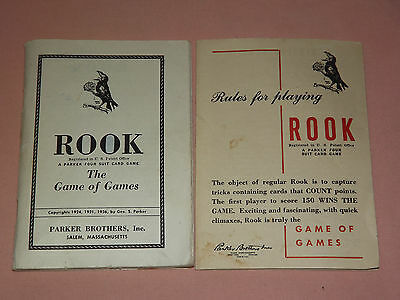 Vintage 1936 Parker Brothers Rules For Playing Rook