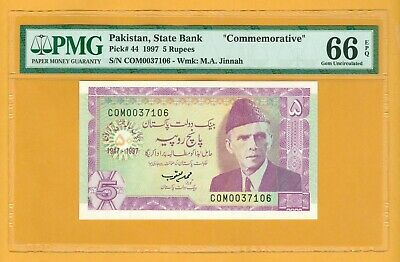 Commemorative 1997 5 Rupees Pakistan Currency Unc Banknote Pmg 66 Epq