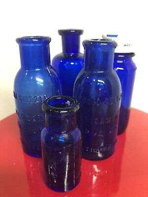 Vintage Cobalt Blue Medicine Bottles: Set of 5