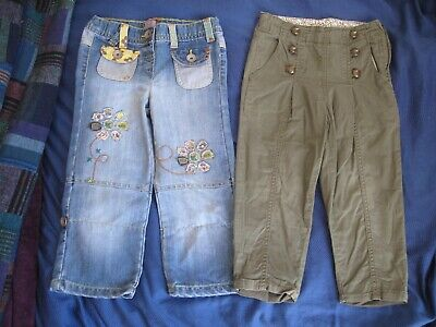 Two pairs of girls' trousers F&F and Next. Age 3-4 (104cm) + stitching & buttons
