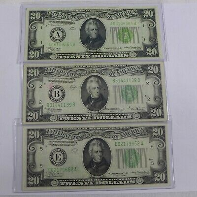 Lot of (3) 1934 $20 Federal Reserve Note💲Light Green A, B, E