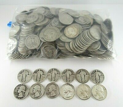 400 United States 90% Silver Quarter Coins Dated 1964 & Earlier About Good-UNC