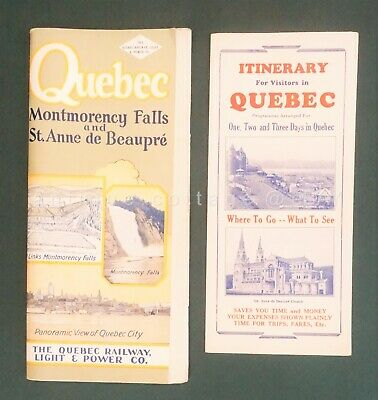 LOT 1940s vintage QUEBEC GUIDES ITINERARY travel quebec railway light & power