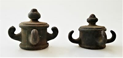 antique victorian 2pc LOT wrought IRON FINIAL with HOOKS architectural salvage