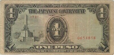 1 One Peso Philippines Japanese Invasion Money Currency Note Banknote Bill Wwii