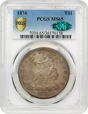 1874 Trade$ PCGS/CAC MS65 - Nice, Original Gem - US Trade Dollar