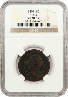 1801 1c NGC VF20 BN (S-214) Draped Bust Large Cents (1796-1807)