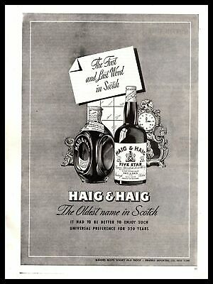 """1947 Haig & Haig Blended Scots Whisky """"The Oldest Name In Scotch"""" Print Ad"""