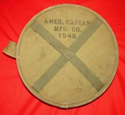 WWII US Army Canvas water bucket 1945 dated and marked