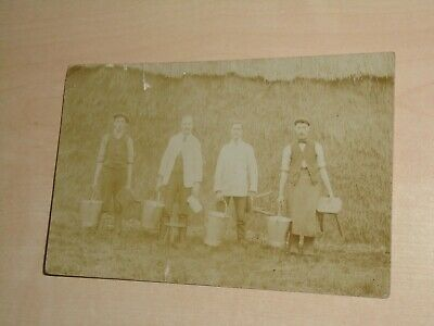 1910 Real Photo Postcard Of Darymen/Farm Workers With Milking Stools By Garland