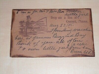 1905 Novelty Leather American Postcard From Onset Mass. 'Drop Me A Line'