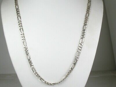 """Estate Sterling Silver 925 Figaro Chain Link Mens Necklace 28.9g 24""""L"""