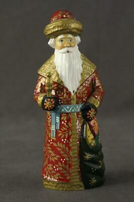 Hand Painted Russian Folk Art Wood Carving Father Christmas Santa Claus Figurine