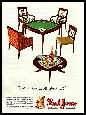 1947 Paul Jones Whiskey Duncan Phyfe Harp Back Chairs MCM Table Vintage Print Ad