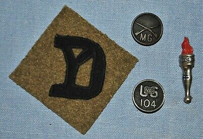 WWI Assembled Lot of 26th Division Patch, Collar Disk & Pin