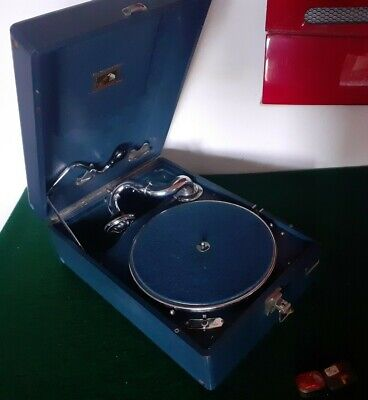Stunning Blue HMV 102 His Masters Voice Wind Up Portable Gramophone