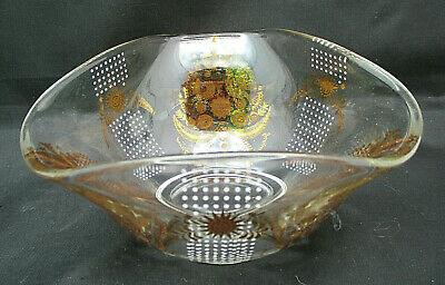 Georges Briard Retro Small Glass Serving Bowl Birds Stars Signed 3 Sides 5 Euc 5 47 Picclick Uk