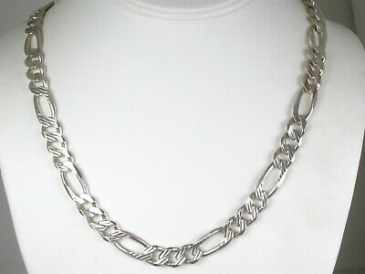 """Estate Sterling Silver 925 Figaro Chain Link Mens Necklace 63.7g 22""""L"""