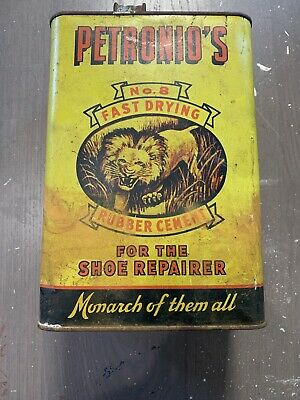 Vintage Petronio's Show Repairer Advertising Can - Tin - LION GRAPHICS - Sign