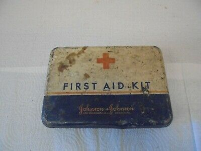 vintage metal first aid kit box johnson & johnson with medical contents