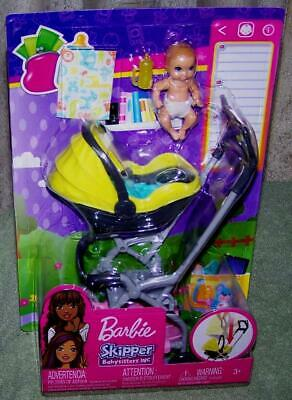 Barbie Skipper BABYSITTERS INC Stroller and Baby Playset New