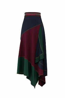 Peter Pilotto Blue Women's Size 10 Colorblocked Asymmetrical Skirt $1375- #811