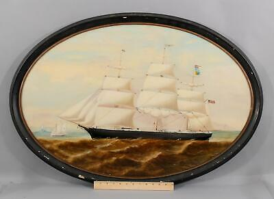 Antique Signed Maritime American Clipper Ship  Oil Painting & Naval Signal Flags