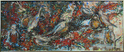 Family of Birds Large Older Expressionist Oil Painting by Meier NO RESERVE