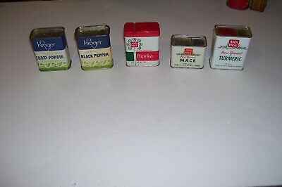 Lot of 5 Vintage SPICE  TINS