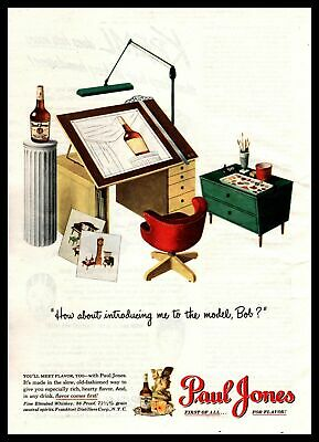 1947 Paul Jones Whiskey Architect Desk Drafting Table MCM Chair Vintage Print Ad