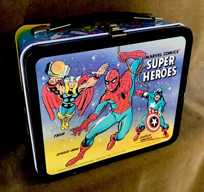 1976 Marvel Comics Super Heroes Metal Lunchbox Spider Man Fantastic 4