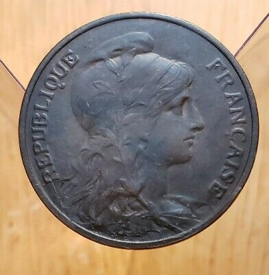 1909 France 5 Centimes World Coin