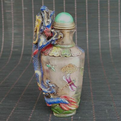 Chinese Exquisite Old Beijing Glass Handmade Painting  Statue Snuff bottle