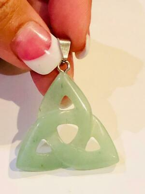 Jade Triquetra Trinity Pendant Wicca Coven Estate Metaphysical Power X 3 Amulet